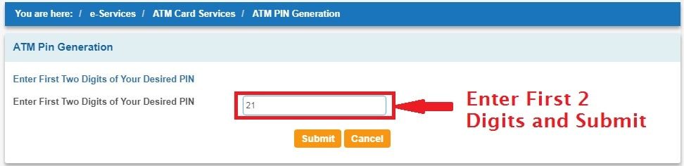Enter First 2 digits desired PIN