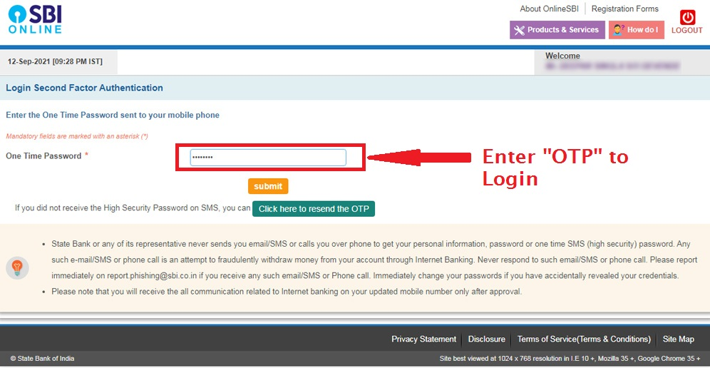 Enter OTP - SBI Net Banking Login
