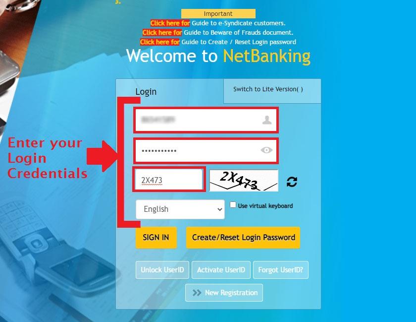 Enter USER ID Password - Login Canara Internet Banking