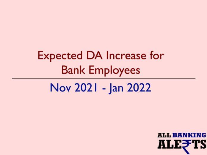 Expected DA increase for bank employees nov 2021