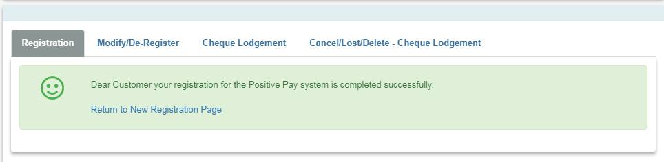 Registration for SBI Positive Pay System