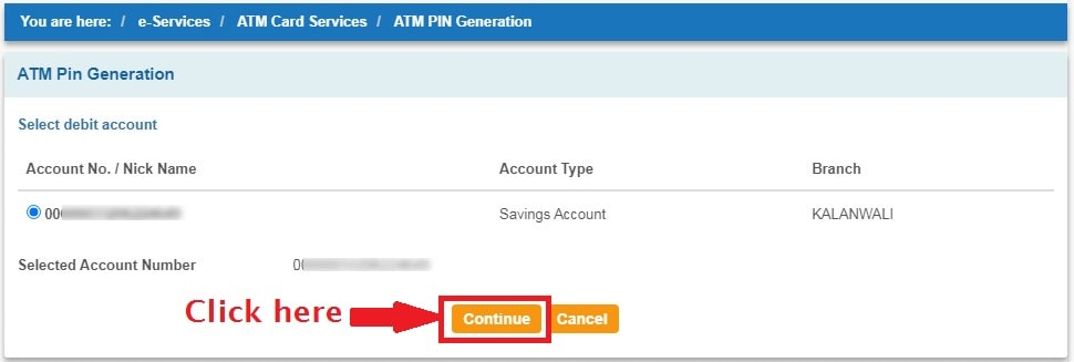 Select Account Number linked to ATM Card