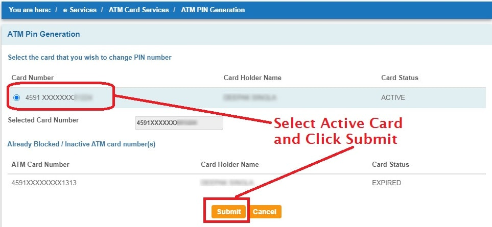Select Active ATM Card and Continue
